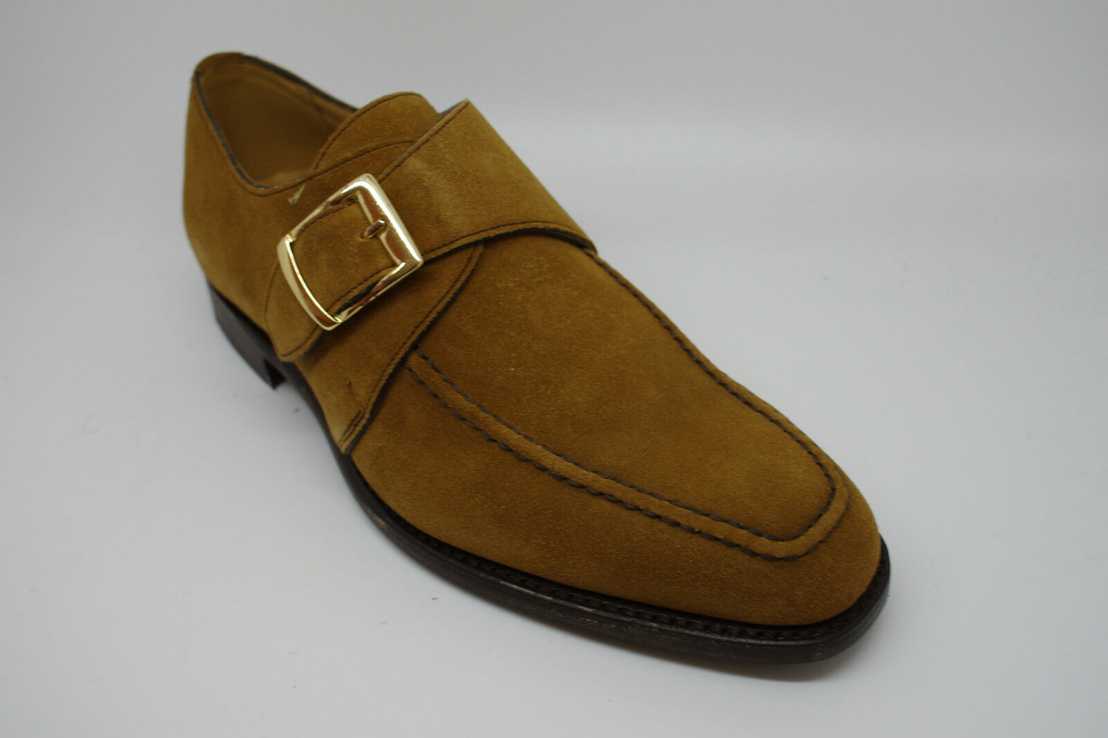 Barker Cannon Monk shoes in Mustard Suede FX