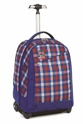 Trolley Invicta - Logo - Blue Rosso - Spallacci A Scomparsa! 35 Lt Scuola E Viag
