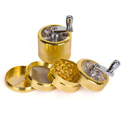 """NEW 2"""" 4pc Metal Hand Crank Muller Herb Spice Tobacco Grinder Crusher Gold"""