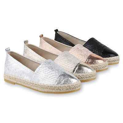 Damen Slipper Espadrilles Metallic Bast Glamour Flats 817150 Schuhe
