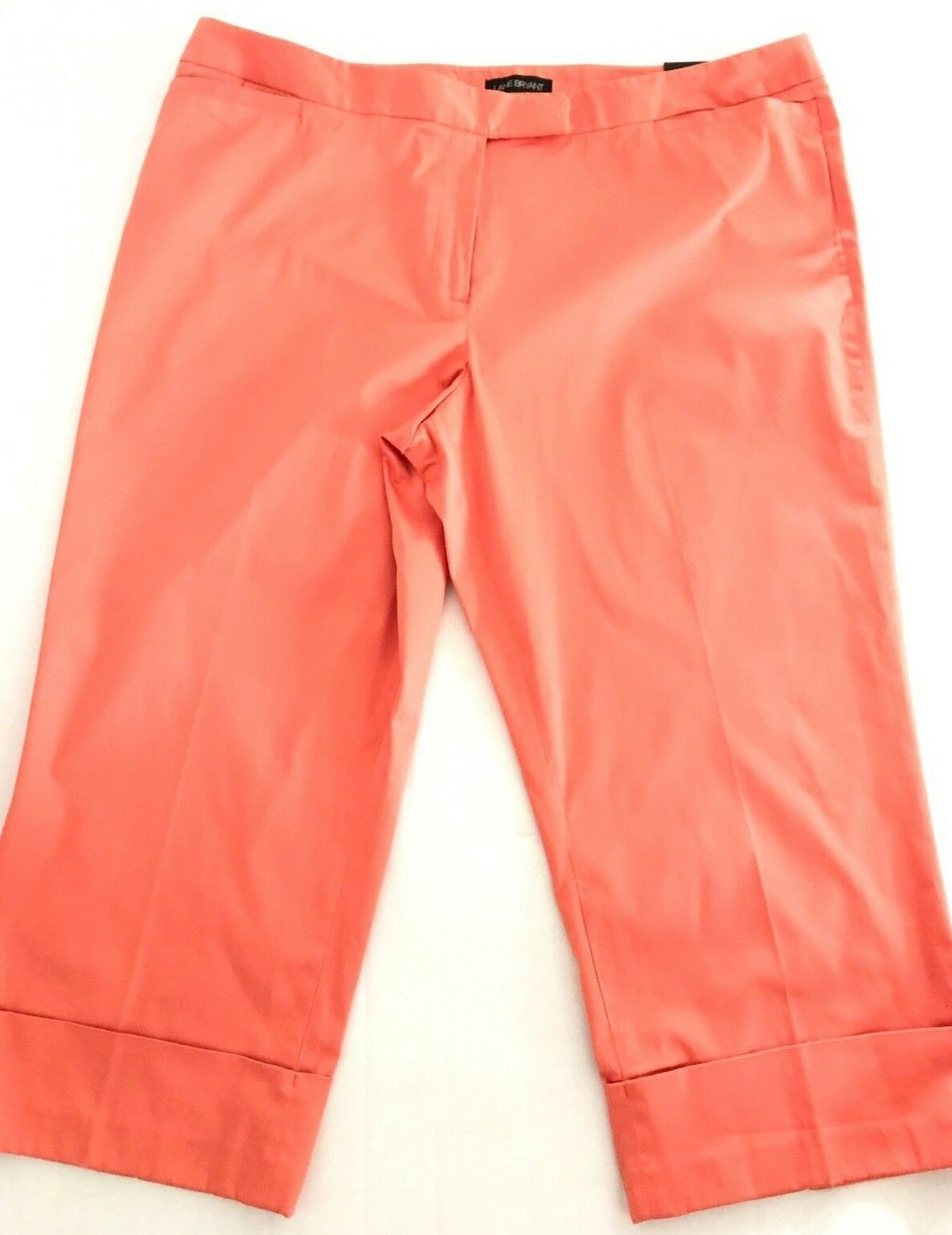 Lane Bryant Pants Wide Lafayette Crop Flared Leg Capri Size 26 orange NEW