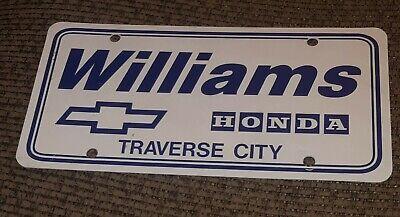 Dealer License Plate Car Williams Chevy Chevrolet Honda Traverse City Michigan Ebay