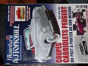 26$$ Revue L'aventure Automobile N°7 Coupés Cabriolets Peugeot 203 403 404 .....