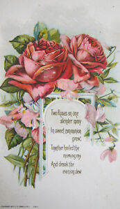 Details About L R Conwell Antique 1910 Postcard Rose Poem Greeting Embossed Floral Love