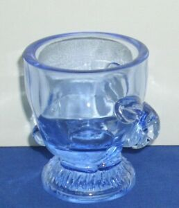 Easter-Spring-Blue-Glass-Egg-Cup-Bunny-Rabbit-2-1-2-034-High-Used