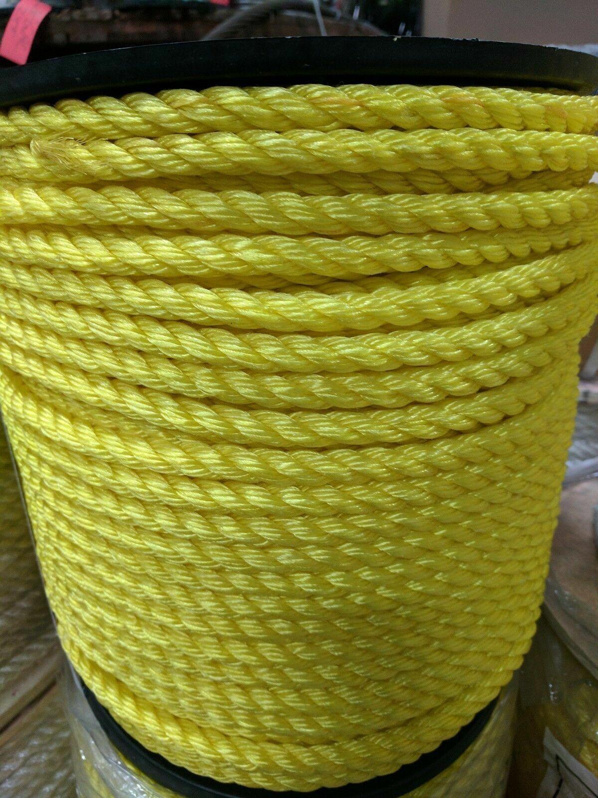 1 2  3-Strand Twisted Poly Pro Polypropylene Rope Yellow (1200 Feet)