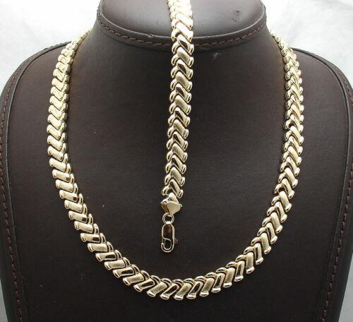 Basket Weave Chevron Design Bracelet Necklace Set 14K Yellow Gold Clad Silver