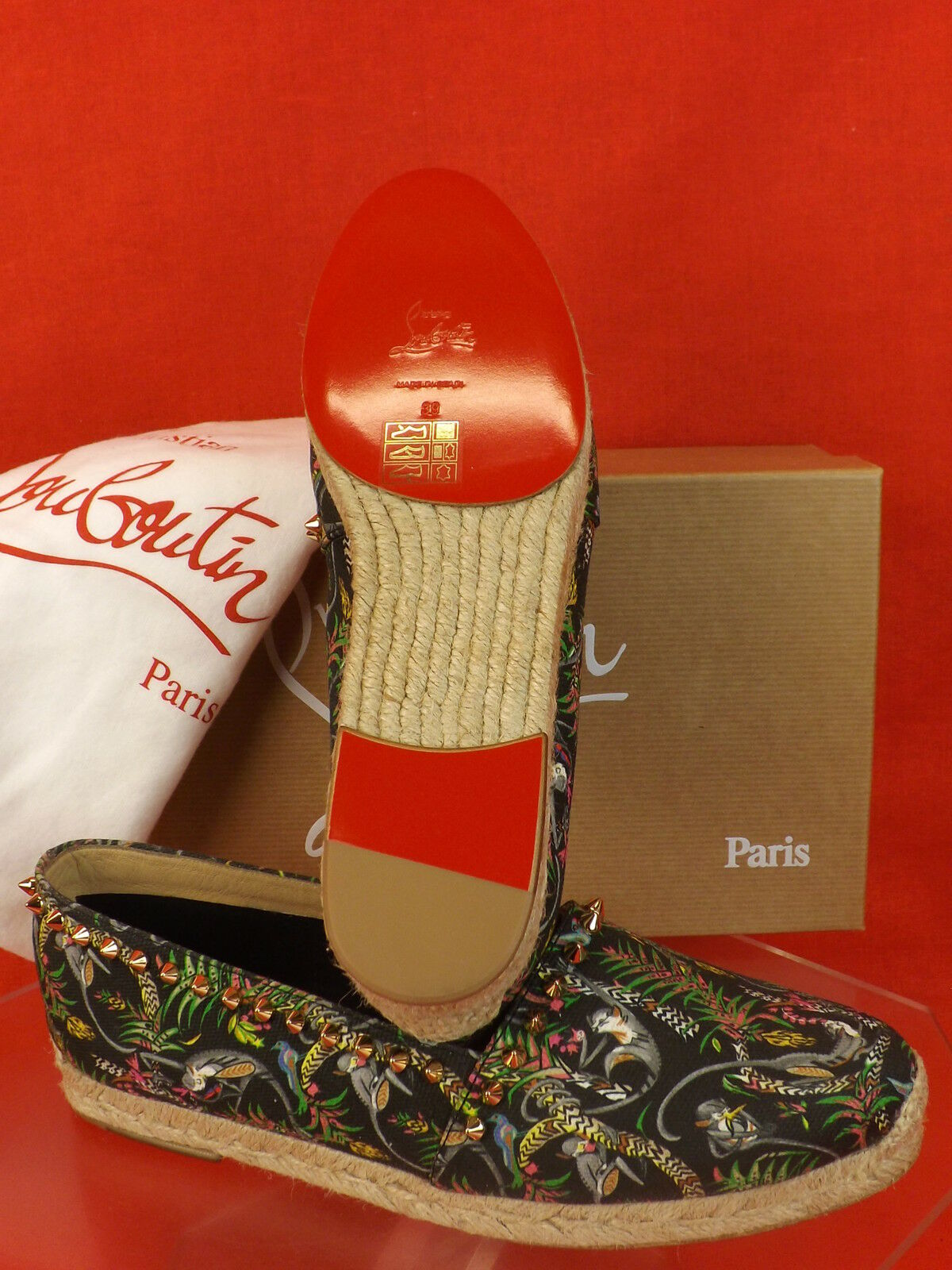 New in Box Louboutin noir ares ares ares Toile or Tone Rivets Pointes Espadrilles Flats 40 4f0da0