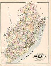 1891 A.H. MUELLER, BRISTOL BUCKS COUNTY, PA SCHENCKS STATION COPY PLAT ATLAS MAP