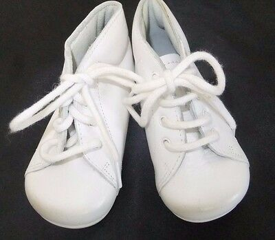 Froment-Leroyer Baby Shoes White Leather Vintage Style Laces French 18 US Sz 3