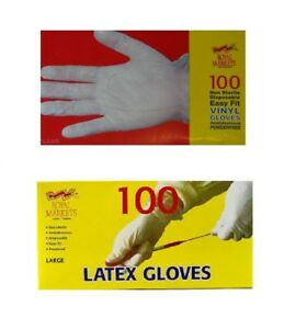 Latex-or-Vinyl-Disposable-Gloves-Powdered-Powder-Free-Strong-Clear-White-Boxed