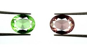 Bumper Offer 4.15 Ct Oval Pink & Green Sapphire Natural Gemstone Pair Certified