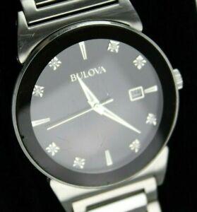 Bulova-Men-039-s-Stainless-Steel-Diamond-Watch-96D121