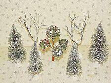 Sisal Bottle Brush Trees Christmas Village Accessories Mix Sizes Lot 7 #