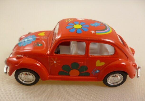 Volkswagen Classical Beetle With Hippy Print (1967) Die Cast Metal 1:64 (HL128)