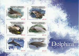 Grenade-grenadines-2013-neuf-sans-charniere-dauphins-6v-m-s-dusky-dolphin-animaux-marins-timbres