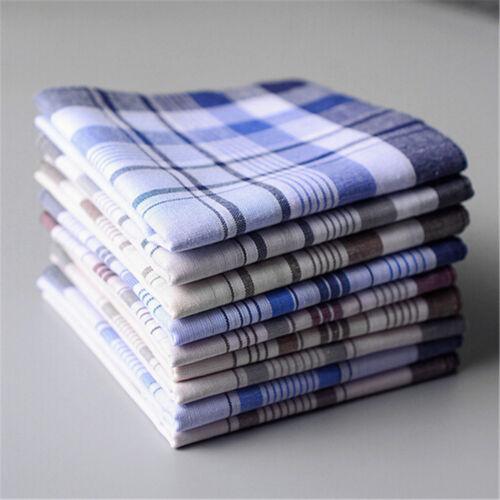 5 Pcs Cotton Plaid Men/'s Handkerchief Square Decorative Suits Grid Hanky Square