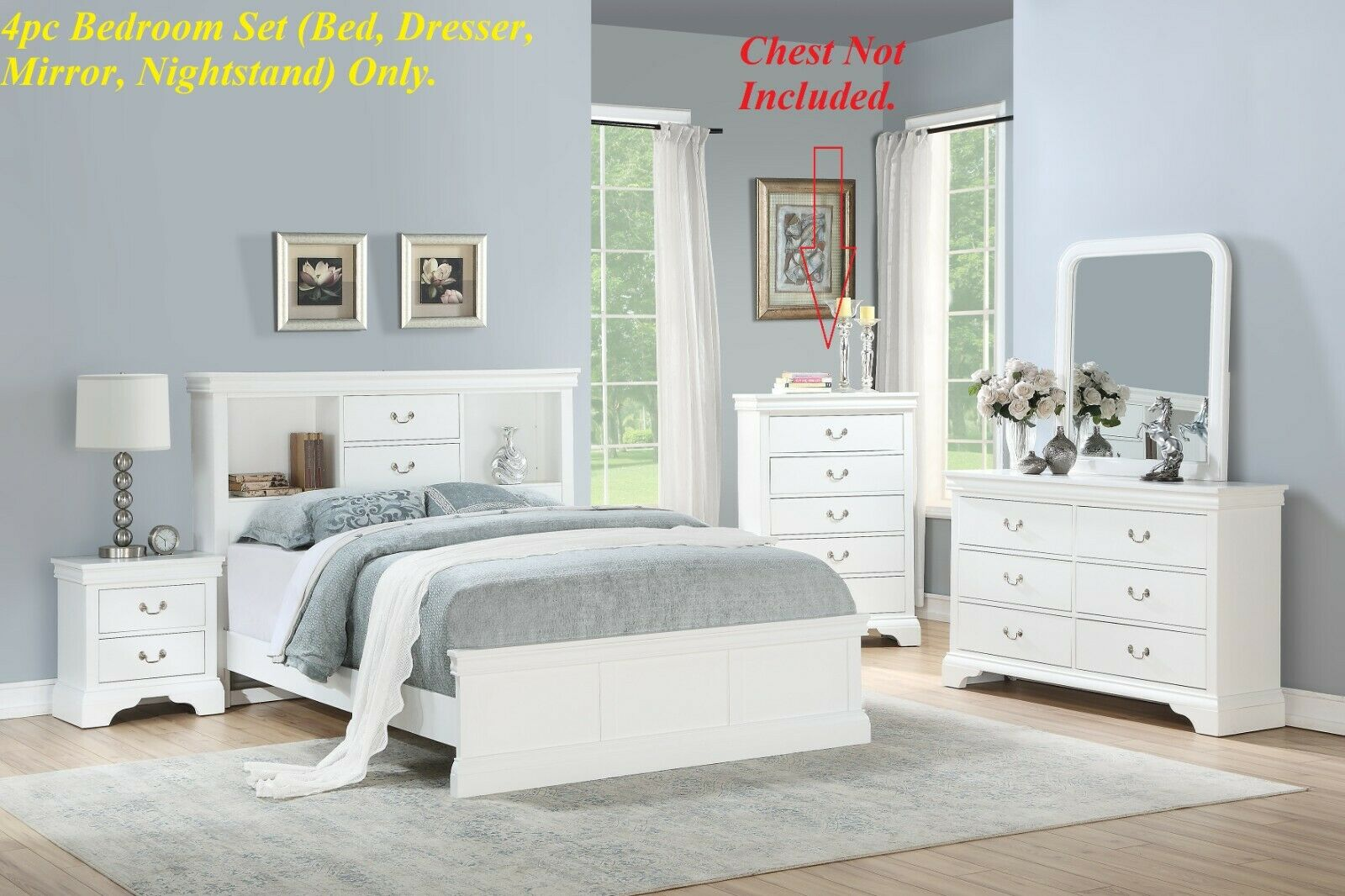 White Rustic Queen Size Bed 4pc Set Bedroom Nightstand Dresser Mirror Wood For Sale Online Ebay