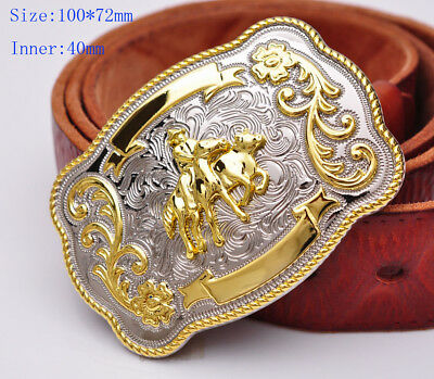 ✖ WESTERN Horse Cowboy Rodeo Style Belt Buckle Buck Gold antique silver Bull USA
