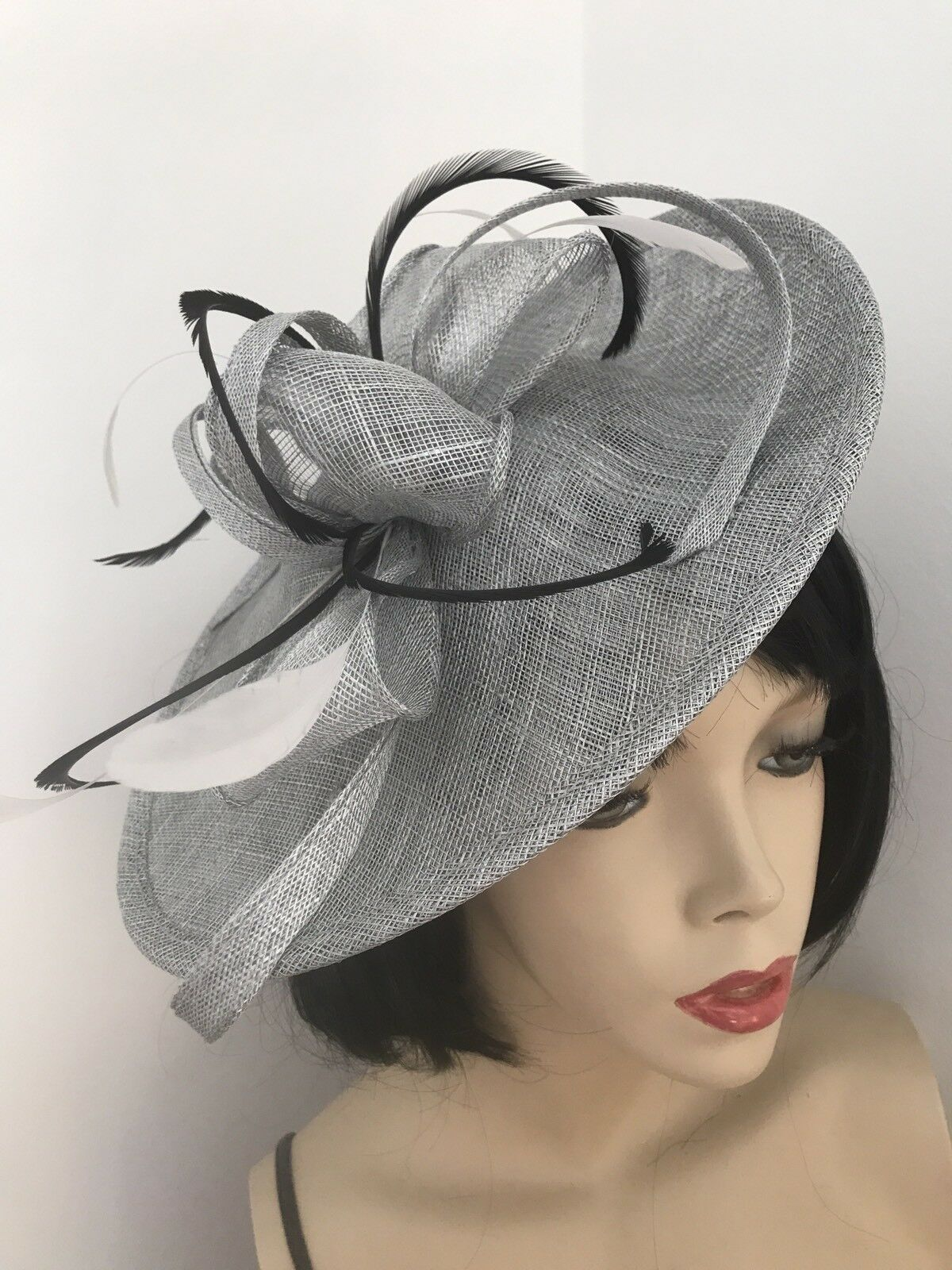 Silver Grey Black Feather Fascinator Saucer Hat Wedding Formal Ladies Races