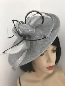 Image is loading Silver-Grey-Black-Feather-Fascinator-Saucer-Hat-Wedding- a665973a94f