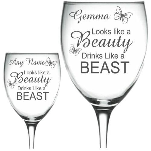 Personalised Engraved Wine Glass looks like a beauty drinks like a beast