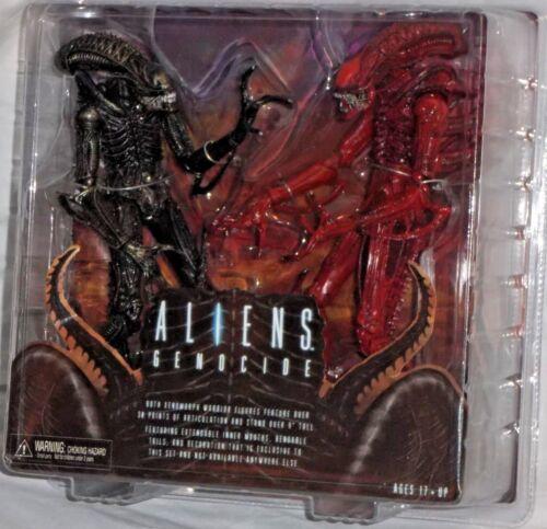 NECA ALIENS GENOCIDE Deluxe 2 Pack RED BLACK XENOMORPH WARRIOR Action Figure set
