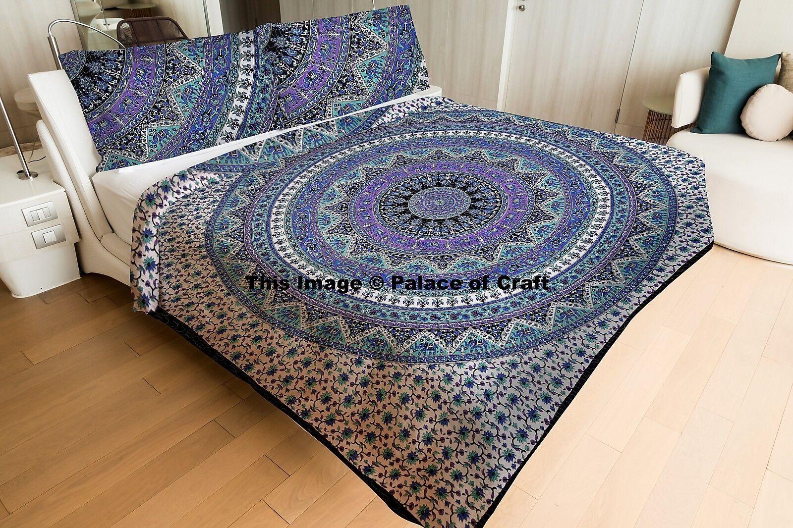 Indian Elephant Mandala Blanket Doona Set Tradition Boho Hippie Quilt Comforter