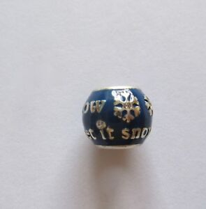 Brighton-Spacer-Charm-LET-IT-SNOW-silver-amp-blue-snowflakes-Christmas-holiday