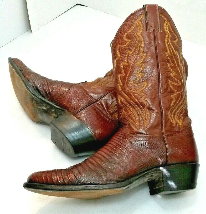 Justin 8480 Brown Leather & Exotic LIZARD Fine Western Boots Mens 10D USA Made