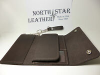 North Star X-large Brown Leather Trucker Chain Wallet-6 Cards-id-made In Usa137