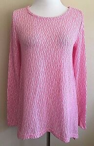 Women-039-s-Pink-Long-Sleeve-Chelsea-amp-Theodore-Textured-Top-Sweater-Small