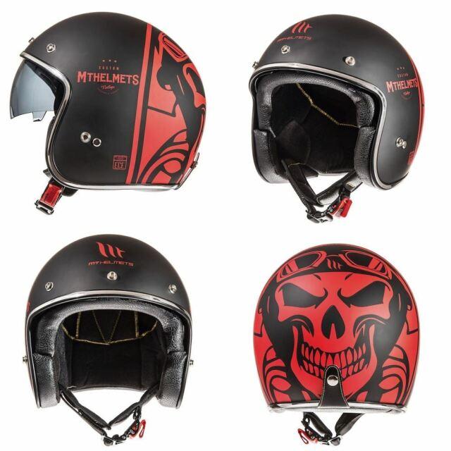 MT Le Mans Motorcycle Bike Open Face Flames Helmet Scooter Crash Lid New