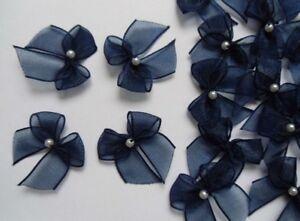 "W Pink Organza Ribbon Bows w// Bead-50 pcs-Crafts Appliques-R0120K 1/"""