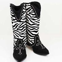 NEW ZEBRA PRINT CROSS BLING RHINESTONE BLACK WHITE WESTERN DRESS BOOTS 8 9 10