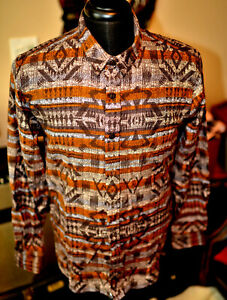American-Rag-Macy-039-s-Flannel-Shirt-Native-American-Design-SIZES-S-M-L-964