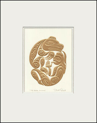 """HAIDA BEAR MOTHER  11/"""" x 14/""""  Gold embossed matted print by Bill Reid  7531"""