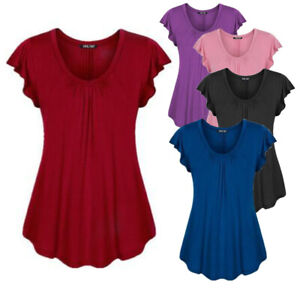 Plus-Size-Women-039-s-Summer-Short-Sleeve-Blouse-T-Shirt-Tops-Casual-Loose-Tunic-Tee