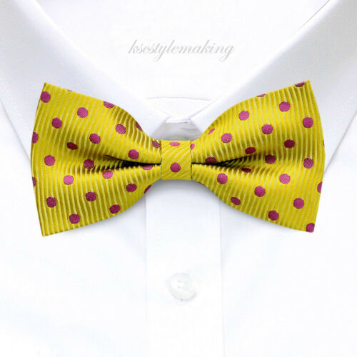*brand New* Magenta Polka Dots Gold Rare Tuxedo Boys Bow Tie B507