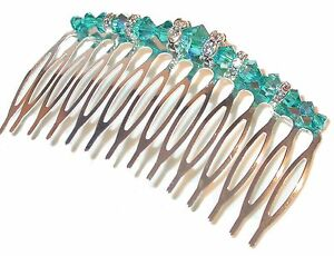 BLUE-ZIRCON-TEAL-Crystal-Hair-Comb-Swarovski-Crystal-Elements