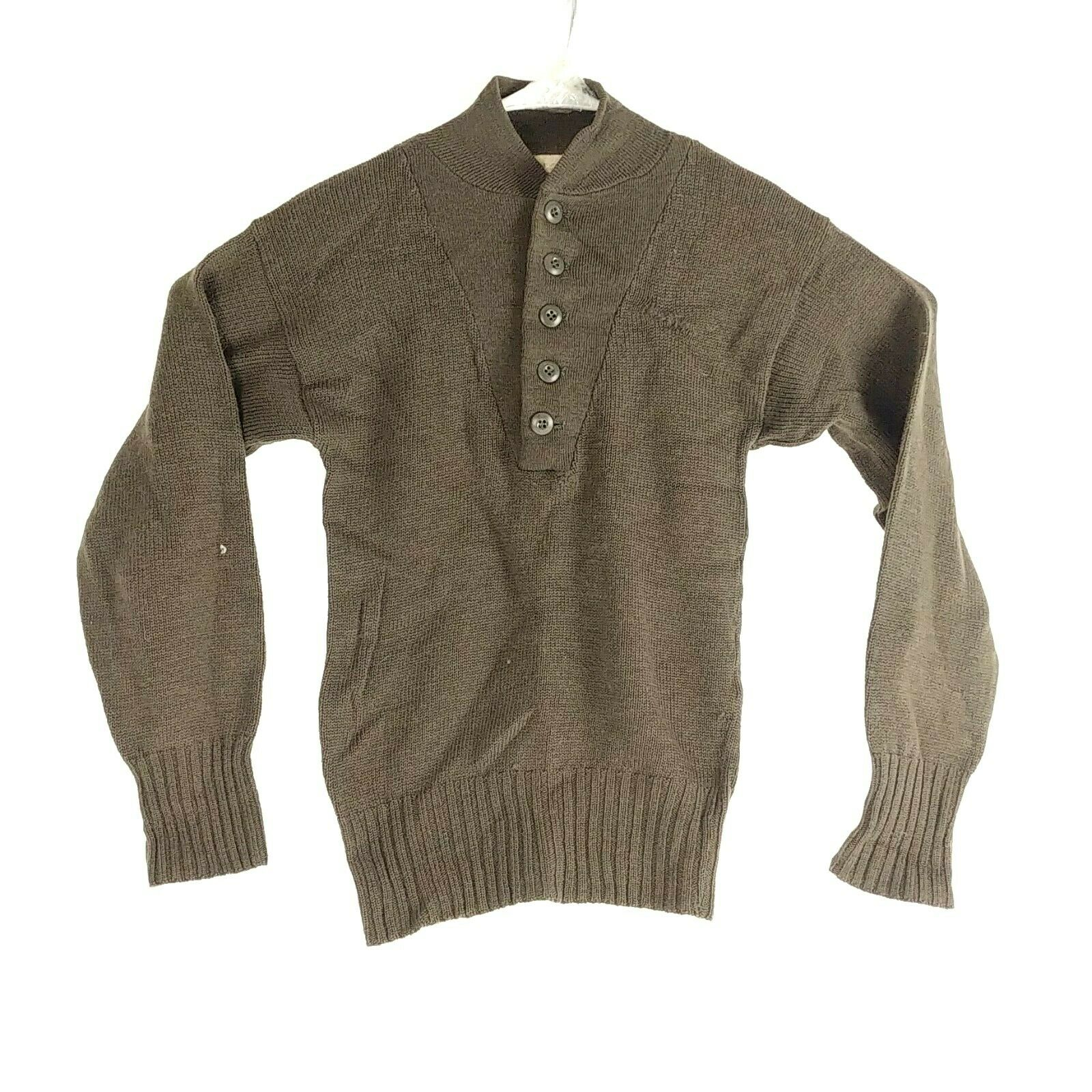 VTG Army Sweater 100% Wool Mens Small S Military OD 34-36 USA SEBO Knitwear D