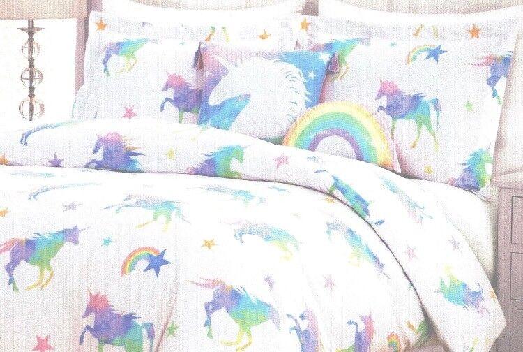 4-pc licornes Double Duvet Set Rainbow PASTEL Unicorn Lil envogue