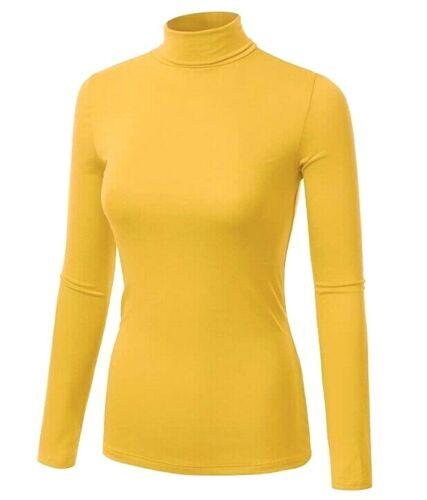 Karen Scott Women's Turtleneck Long Sleeve Cotton Saffron Gold Pullover Top