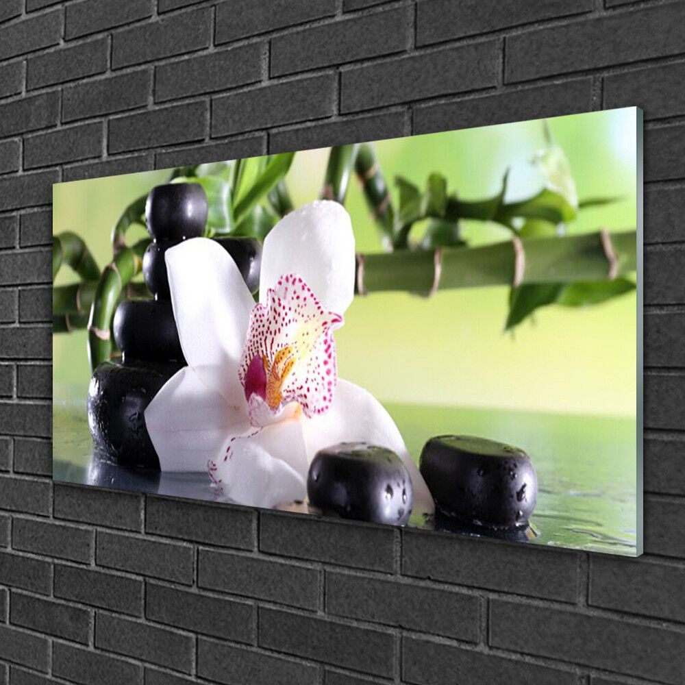 Glass print Wall art 100x50 Image Picture Bamboo Cane Flower Stones Floral