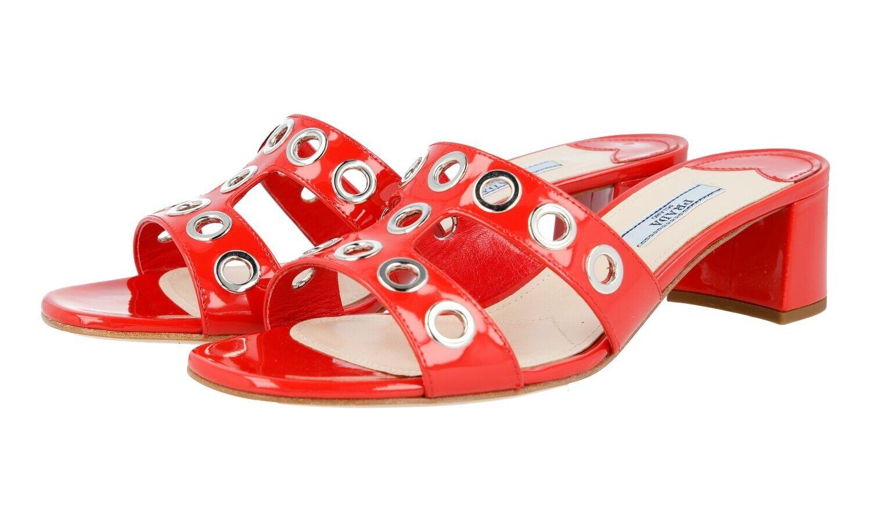 Autorización de lujo Prada Sandalias Zapatos 1XX250 Lacca nuevo 40 40,5 Reino Unido 7