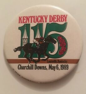 1989-Kentucky-Derby-Churchill-Downs-Kentucky-111th-Year-3-Button-Badge-Pinback