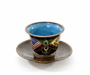 1930's Chinese Gilt Cloisonne Enamel Cup & Saucer American & Qing Dynasty Flags