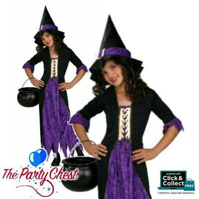 Child Purple Gothic Witch Costume Girls Halloween Witch Fancy Dress Outfit 81026 Ebay