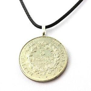 Collier-piece-de-monnaie-France-5-francs-Hercule-de-Dupre