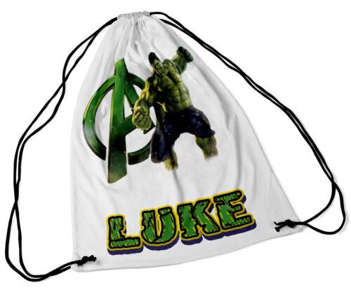 Bolsa de Cordón Personalizada Cualquier Nombre Hulk Diseño Natación Escuela Nursery Pe Regalo